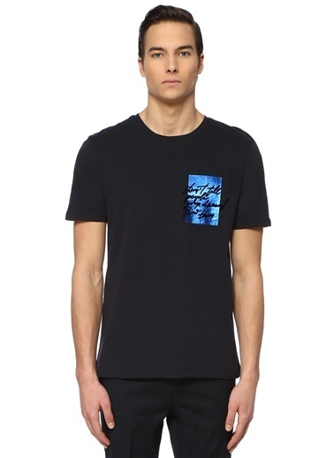 NetWork Erkek 1074388 Slim Fit Baskılı T-shirt Lacivert
